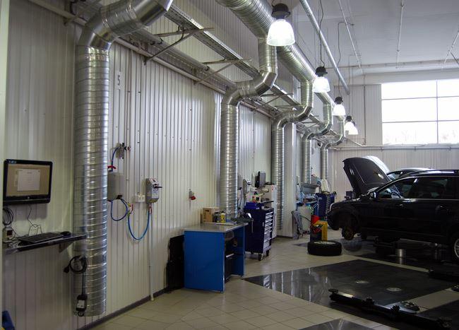 Система вентиляции в автосервисе
